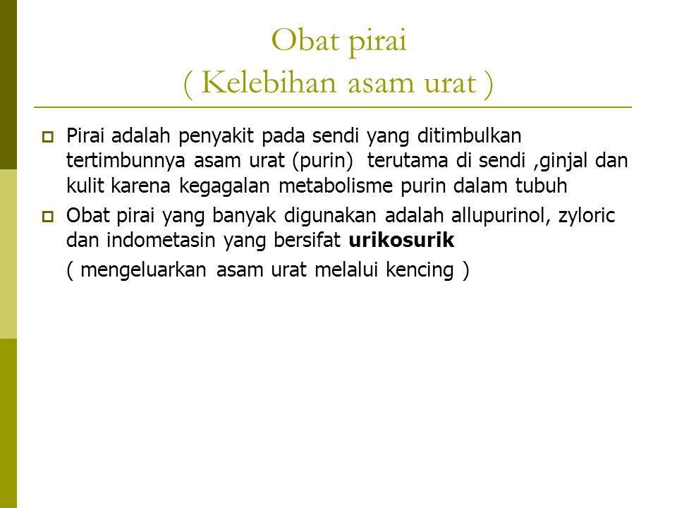 Obat pirai ( Kelebihan asam urat )