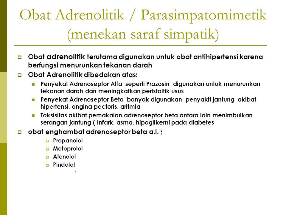 Obat Adrenolitik / Parasimpatomimetik (menekan saraf simpatik)