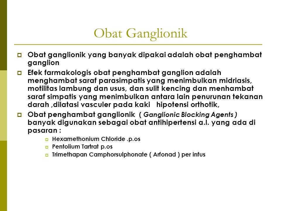 Obat Ganglionik Obat ganglionik yang banyak dipakai adalah obat penghambat ganglion.