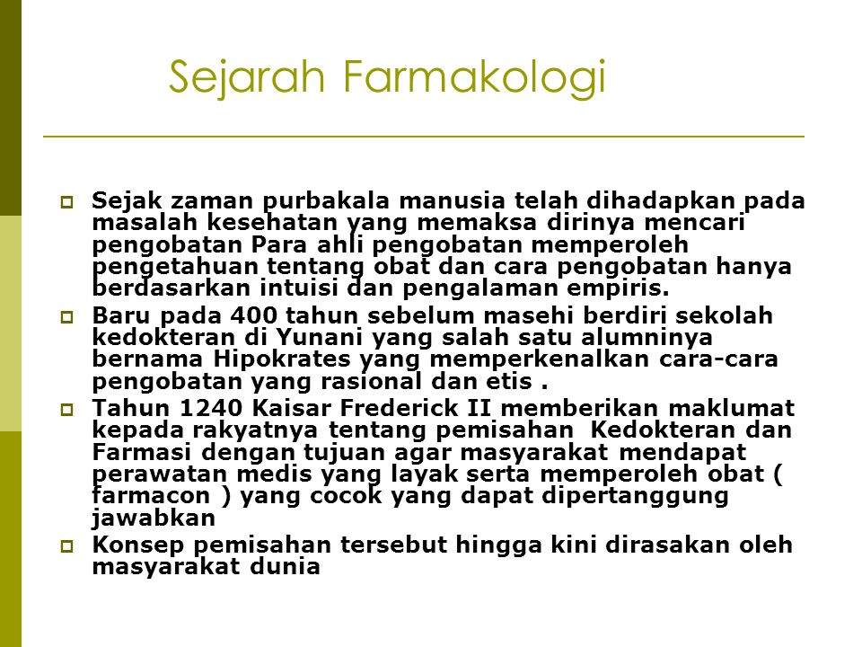 Sejarah Farmakologi