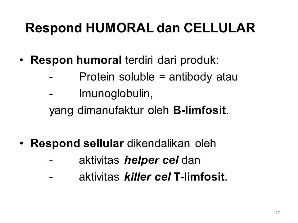 Respond HUMORAL dan CELLULAR