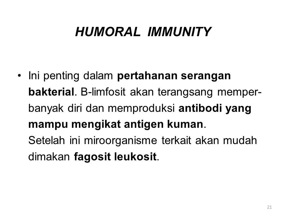 HUMORAL IMMUNITY Ini penting dalam pertahanan serangan