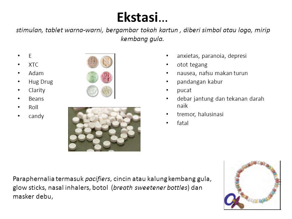Ekstasi… stimulan, tablet warna-warni, bergambar tokoh kartun , diberi simbol atau logo, mirip kembang gula.