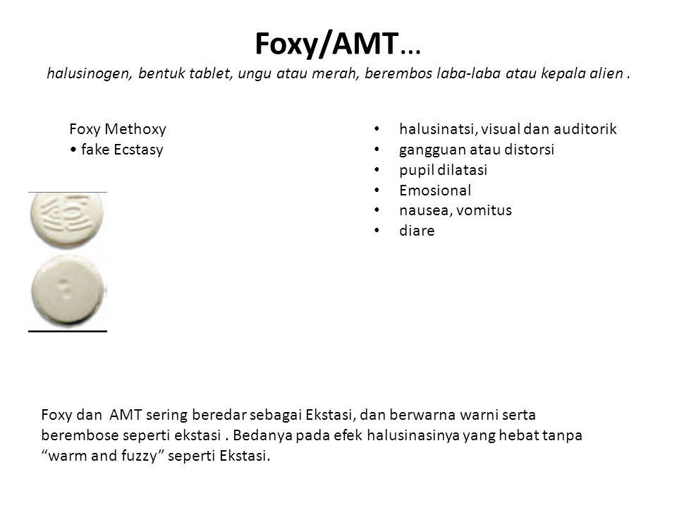 Foxy/AMT… halusinogen, bentuk tablet, ungu atau merah, berembos laba-laba atau kepala alien .