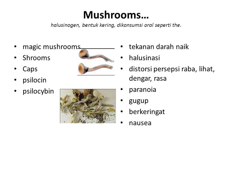 Mushrooms… halusinogen, bentuk kering, dikonsumsi oral seperti the.