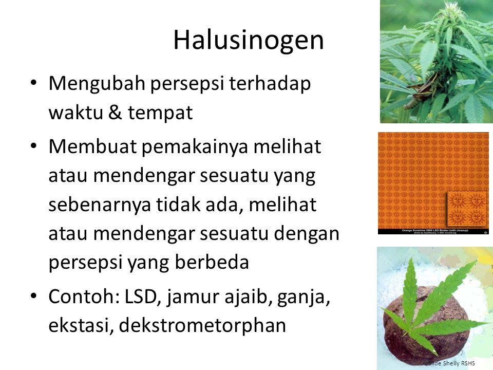 Halusinogen Mengubah persepsi terhadap waktu & tempat