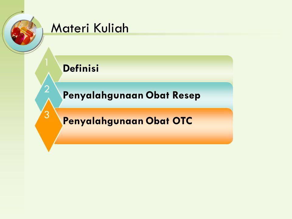 Materi Kuliah 1 Definisi 2 Penyalahgunaan Obat Resep 3