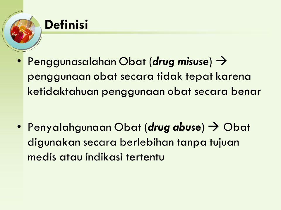 Definisi Penggunasalahan Obat (drug misuse)  penggunaan obat secara tidak tepat karena ketidaktahuan penggunaan obat secara benar.