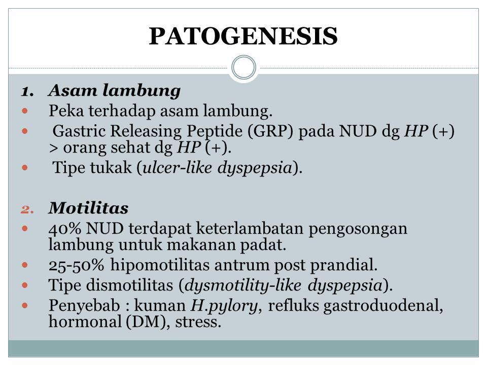 PATOGENESIS 1. Asam lambung Peka terhadap asam lambung.