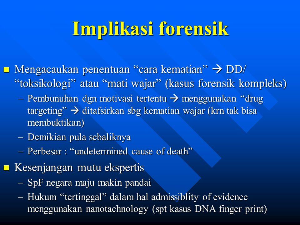 Implikasi forensik Mengacaukan penentuan cara kematian  DD/ toksikologi atau mati wajar (kasus forensik kompleks)