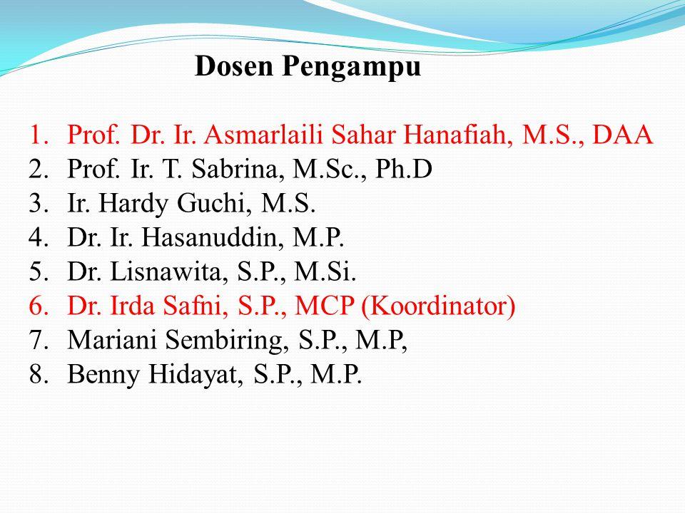 Dosen Pengampu Prof. Dr. Ir. Asmarlaili Sahar Hanafiah, M.S., DAA