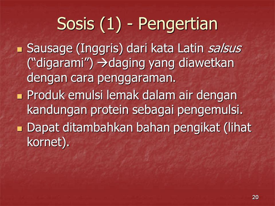 Sosis (1) - Pengertian Sausage (Inggris) dari kata Latin salsus ( digarami ) daging yang diawetkan dengan cara penggaraman.