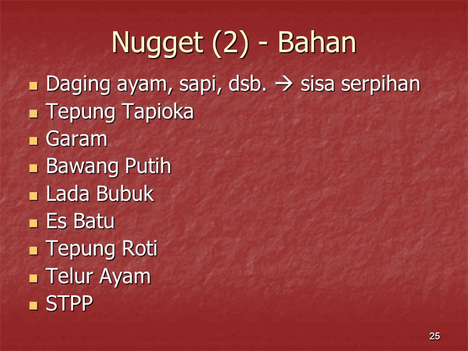 Nugget (2) - Bahan Daging ayam, sapi, dsb.  sisa serpihan