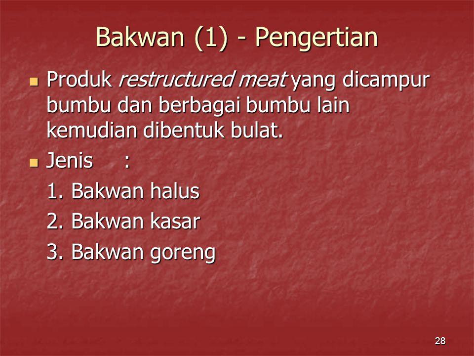 Bakwan (1) - Pengertian Produk restructured meat yang dicampur bumbu dan berbagai bumbu lain kemudian dibentuk bulat.