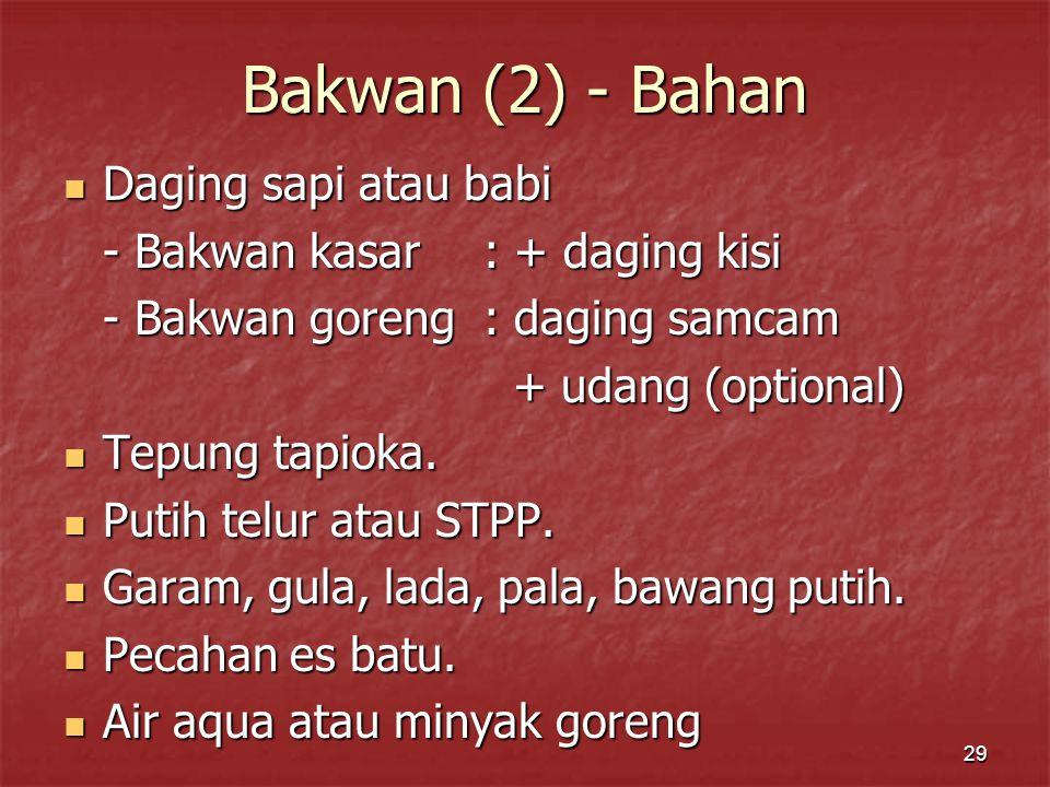 Bakwan (2) - Bahan Daging sapi atau babi