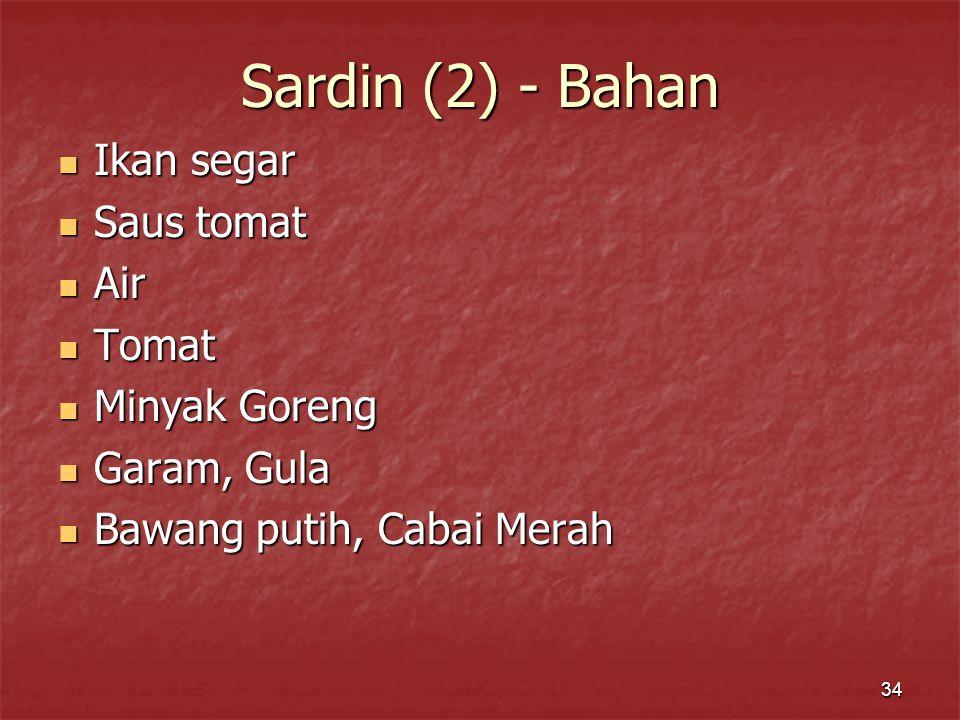 Sardin (2) - Bahan Ikan segar Saus tomat Air Tomat Minyak Goreng
