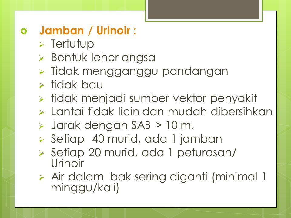 Jamban / Urinoir : Tertutup. Bentuk leher angsa. Tidak mengganggu pandangan. tidak bau. tidak menjadi sumber vektor penyakit.