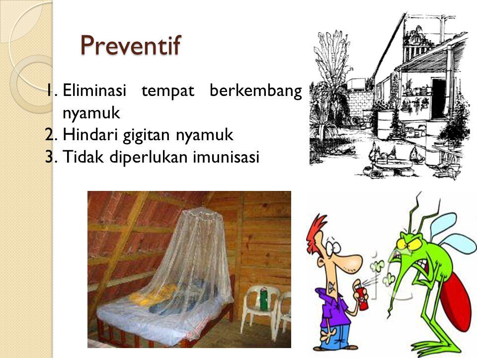 Preventif Eliminasi tempat berkembang nyamuk Hindari gigitan nyamuk