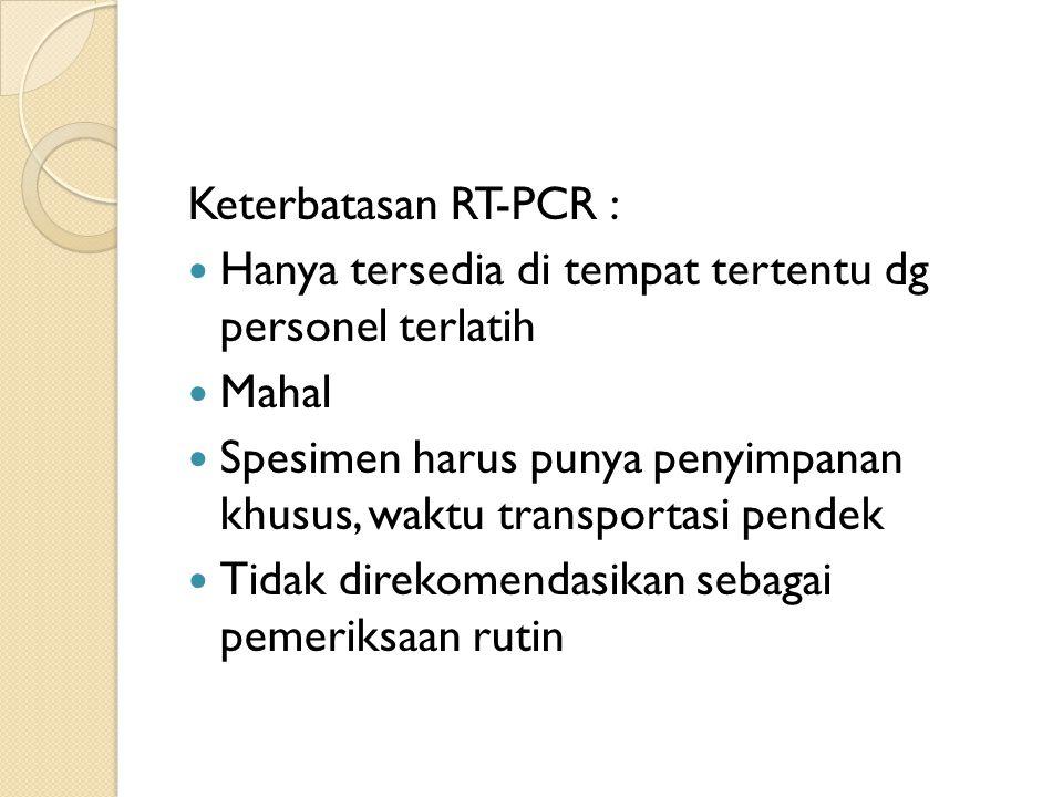 Keterbatasan RT-PCR : Hanya tersedia di tempat tertentu dg personel terlatih. Mahal.