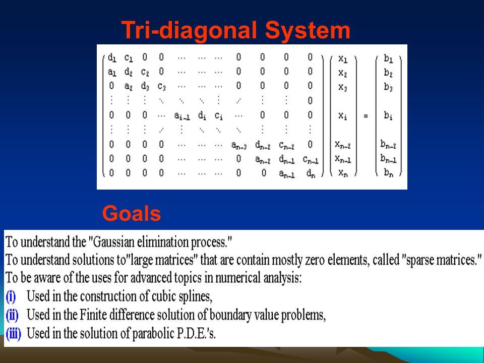 Tri-diagonal System Goals