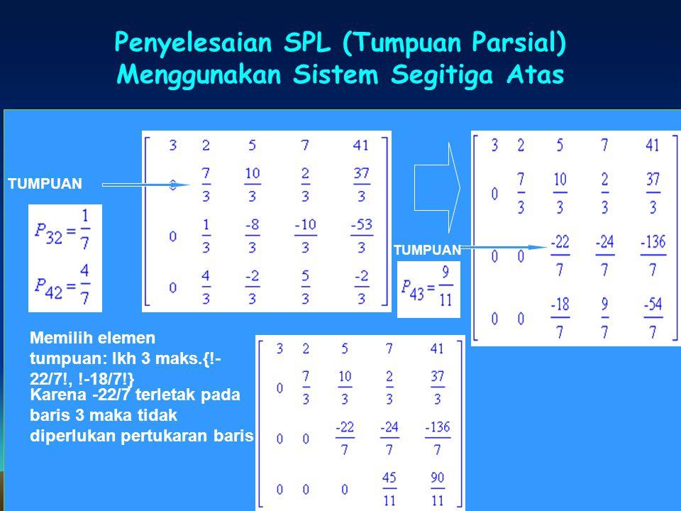 Penyelesaian SPL (Tumpuan Parsial) Menggunakan Sistem Segitiga Atas