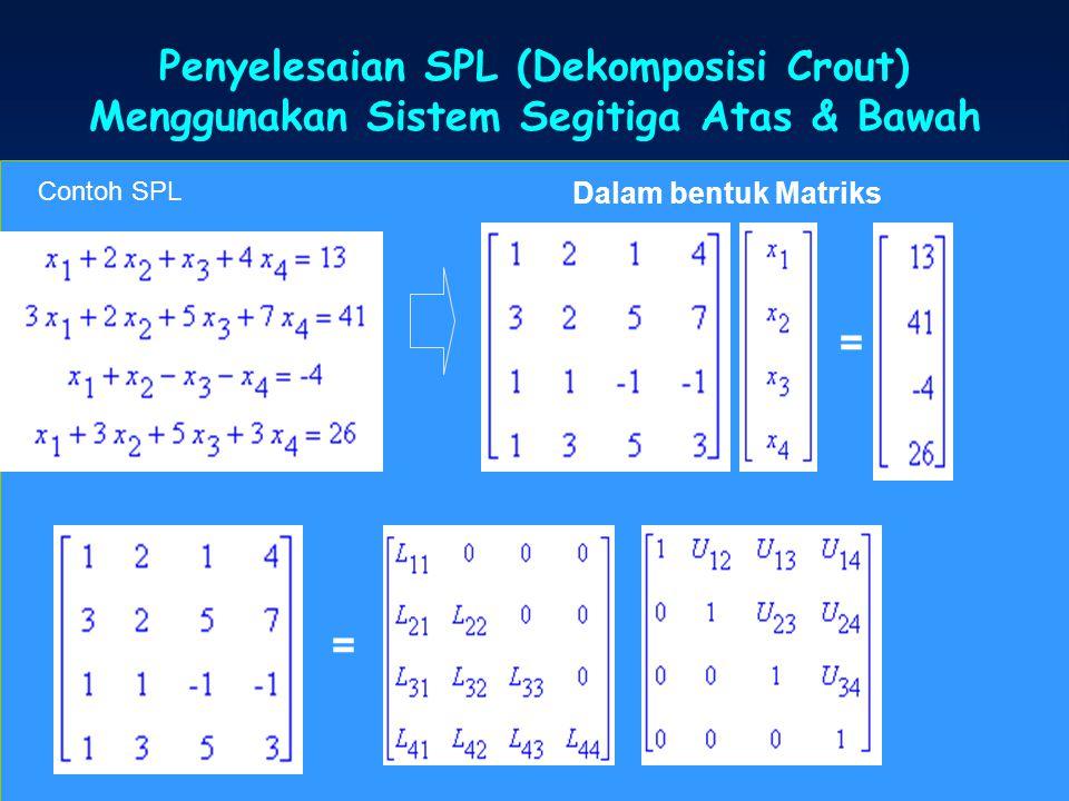 Penyelesaian SPL (Dekomposisi Crout)