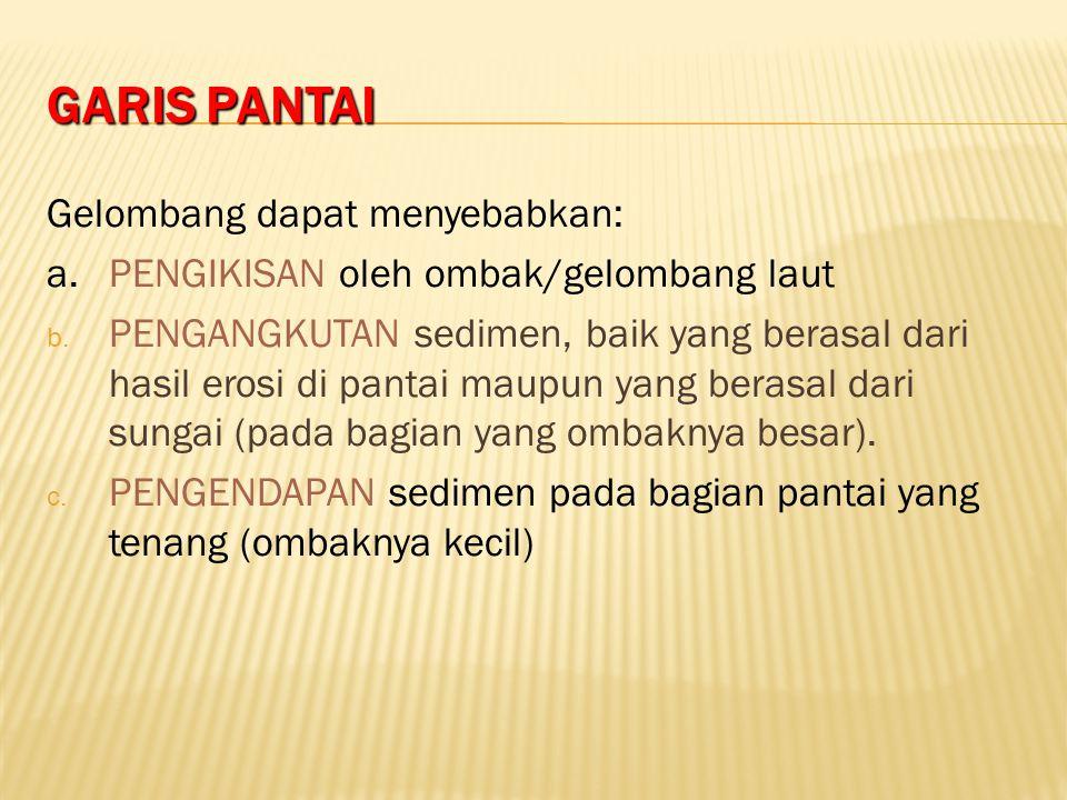 GARIS PANTAI Gelombang dapat menyebabkan: