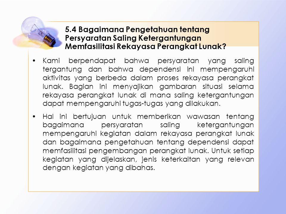 5.4 Bagaimana Pengetahuan tentang Persyaratan Saling Ketergantungan Memfasilitasi Rekayasa Perangkat Lunak