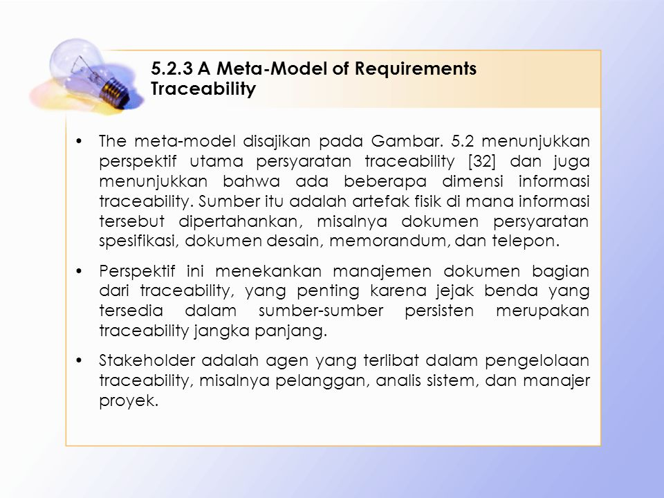 5.2.3 A Meta-Model of Requirements Traceability