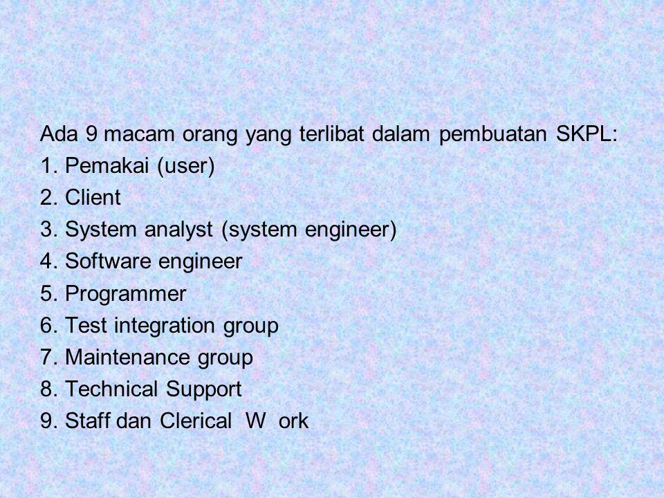 Ada 9 macam orang yang terlibat dalam pembuatan SKPL: