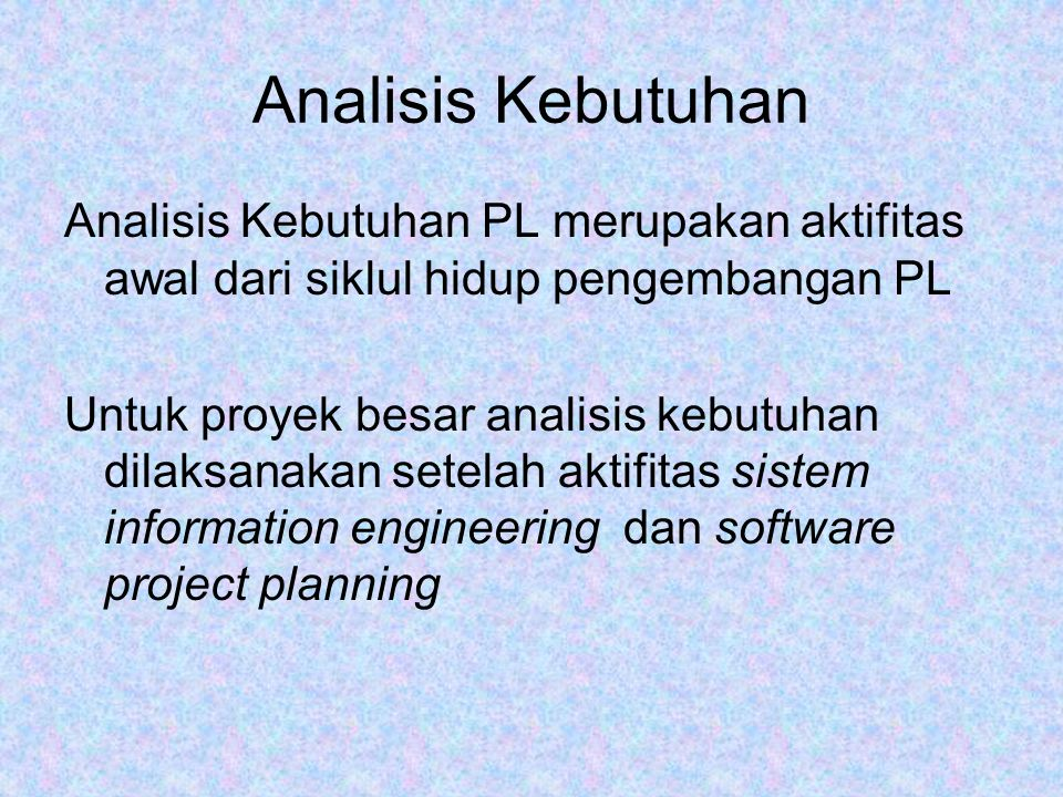 Analisis Kebutuhan Analisis Kebutuhan PL merupakan aktifitas awal dari siklul hidup pengembangan PL.