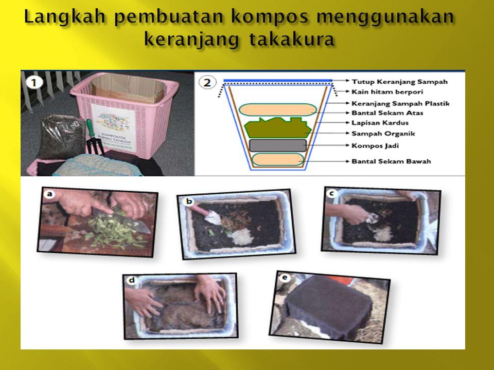Langkah pembuatan kompos menggunakan keranjang takakura
