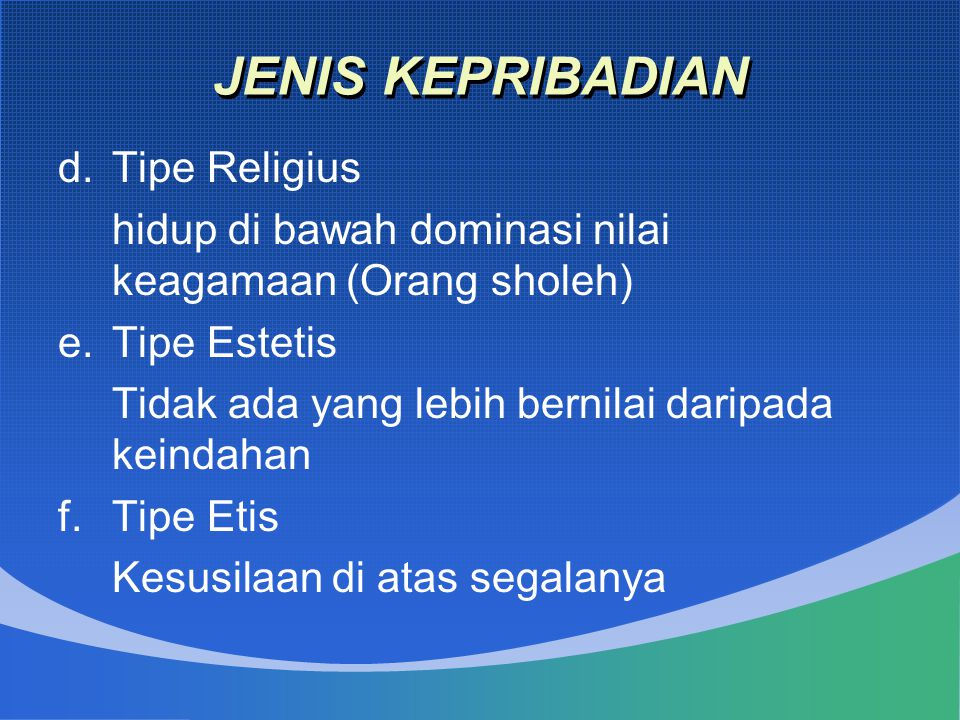 JENIS KEPRIBADIAN Tipe Religius