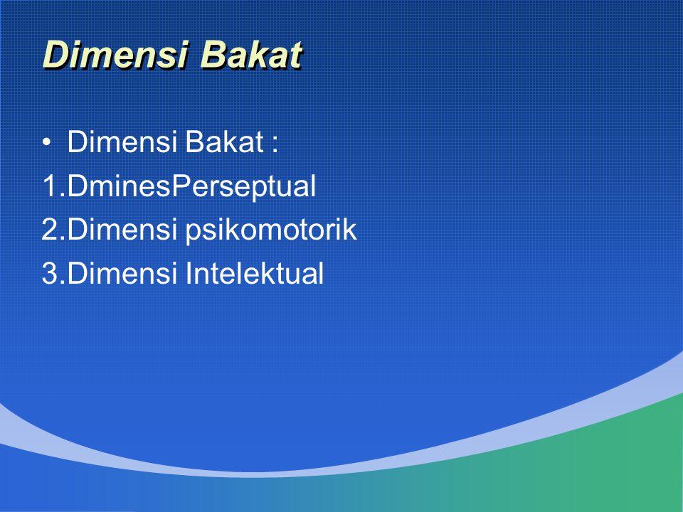 Dimensi Bakat Dimensi Bakat : DminesPerseptual Dimensi psikomotorik