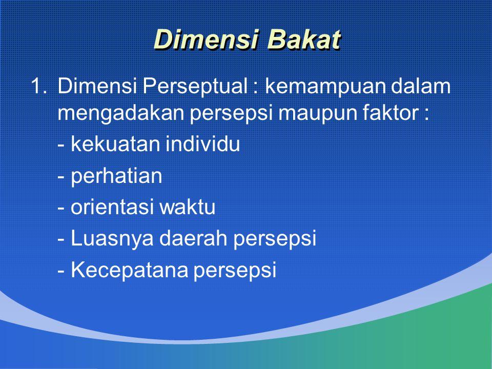 Dimensi Bakat Dimensi Perseptual : kemampuan dalam mengadakan persepsi maupun faktor : - kekuatan individu.