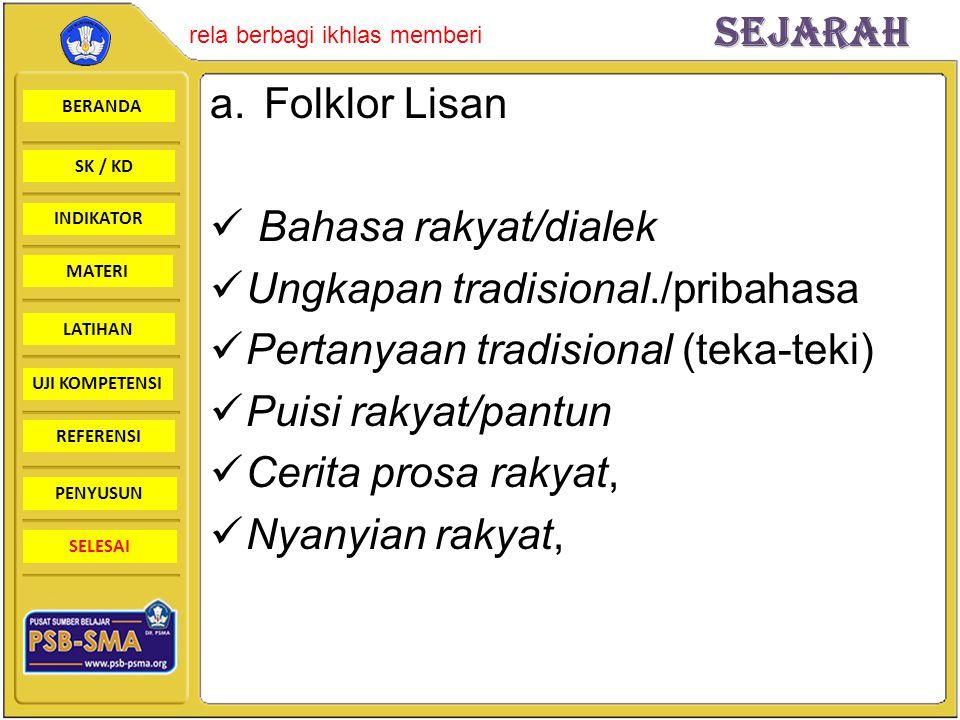 Folklor Lisan Bahasa rakyat/dialek. Ungkapan tradisional./pribahasa. Pertanyaan tradisional (teka-teki)