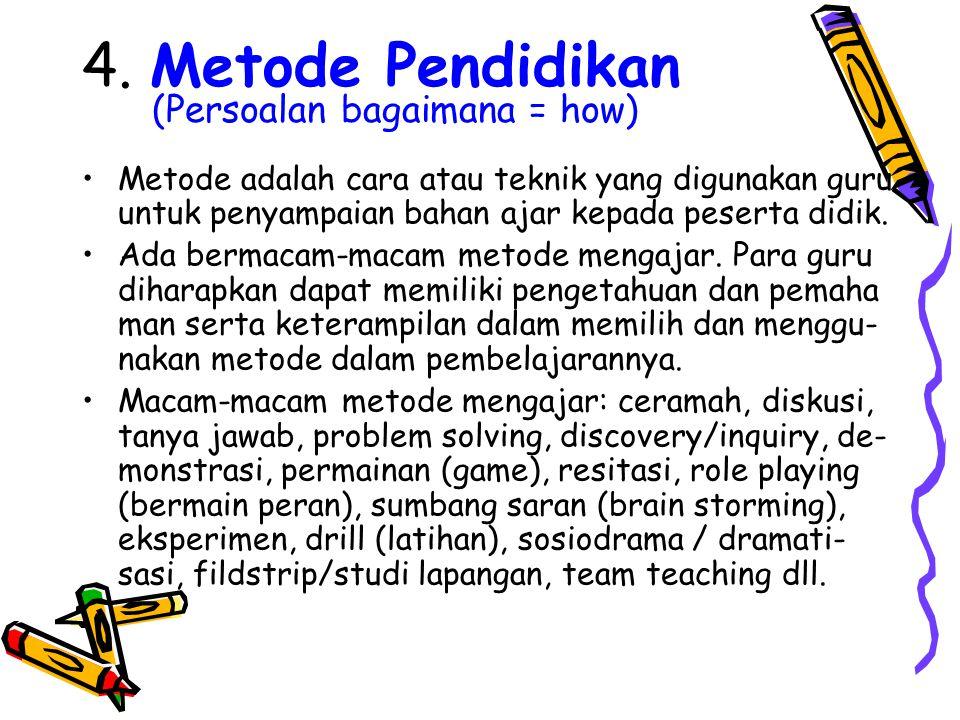 4. Metode Pendidikan (Persoalan bagaimana = how)
