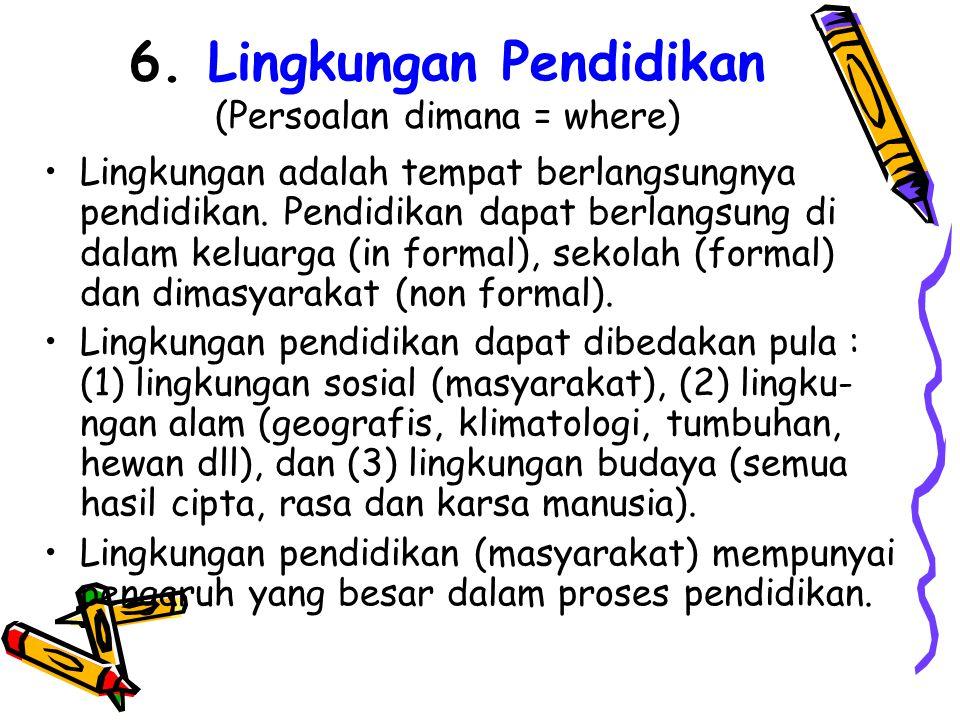 6. Lingkungan Pendidikan (Persoalan dimana = where)