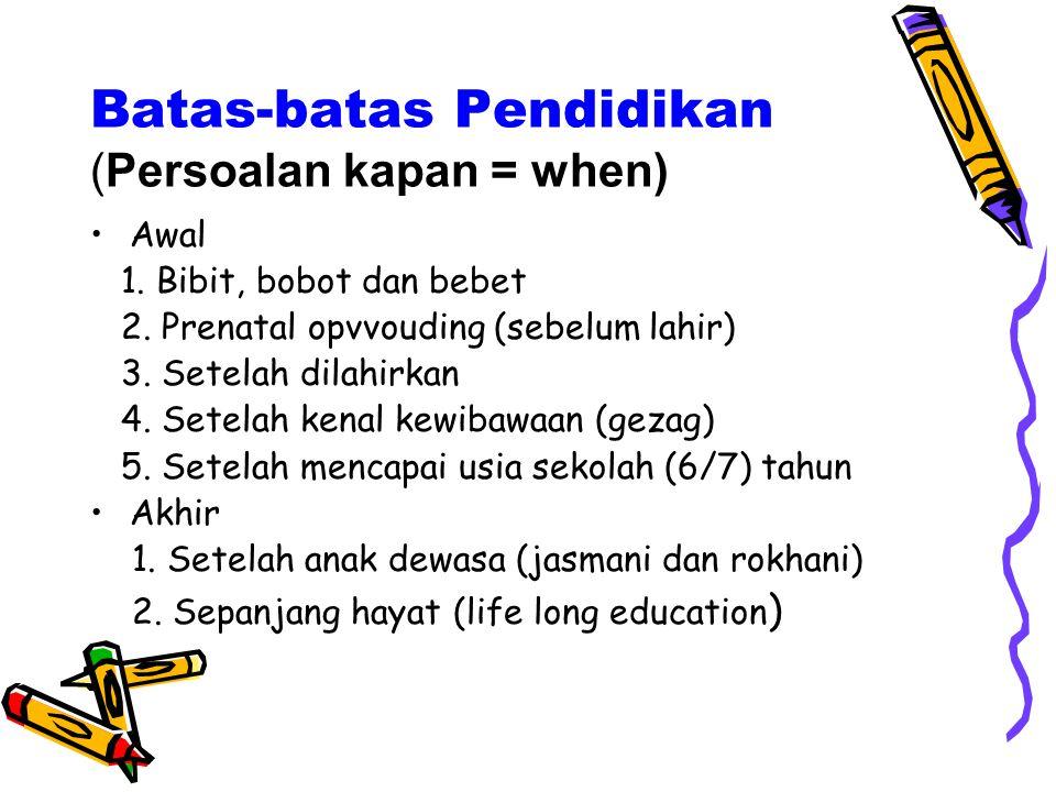 Batas-batas Pendidikan (Persoalan kapan = when)