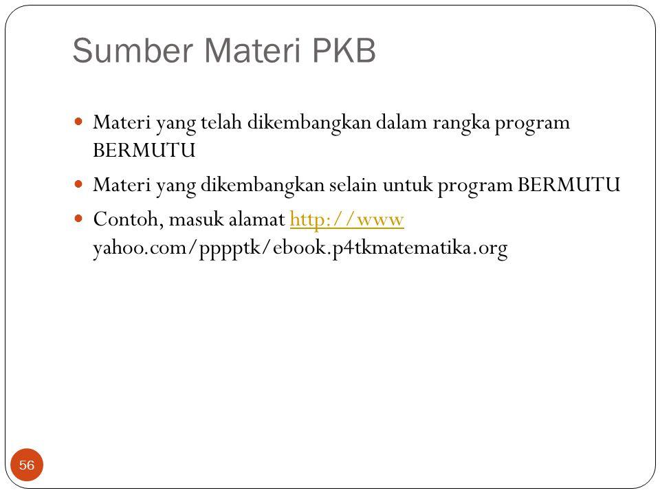 Sumber Materi PKB Materi yang telah dikembangkan dalam rangka program BERMUTU. Materi yang dikembangkan selain untuk program BERMUTU.