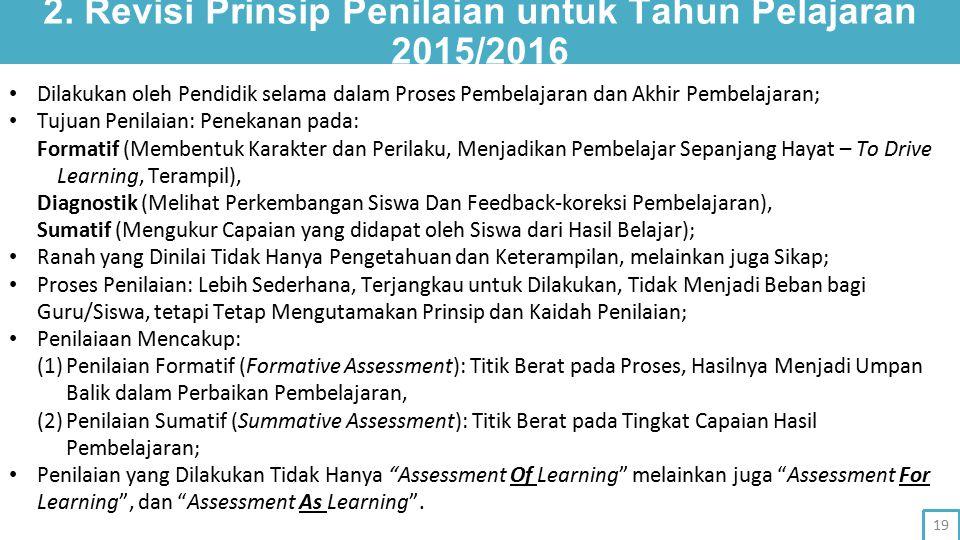 2. Revisi Prinsip Penilaian untuk Tahun Pelajaran 2015/2016