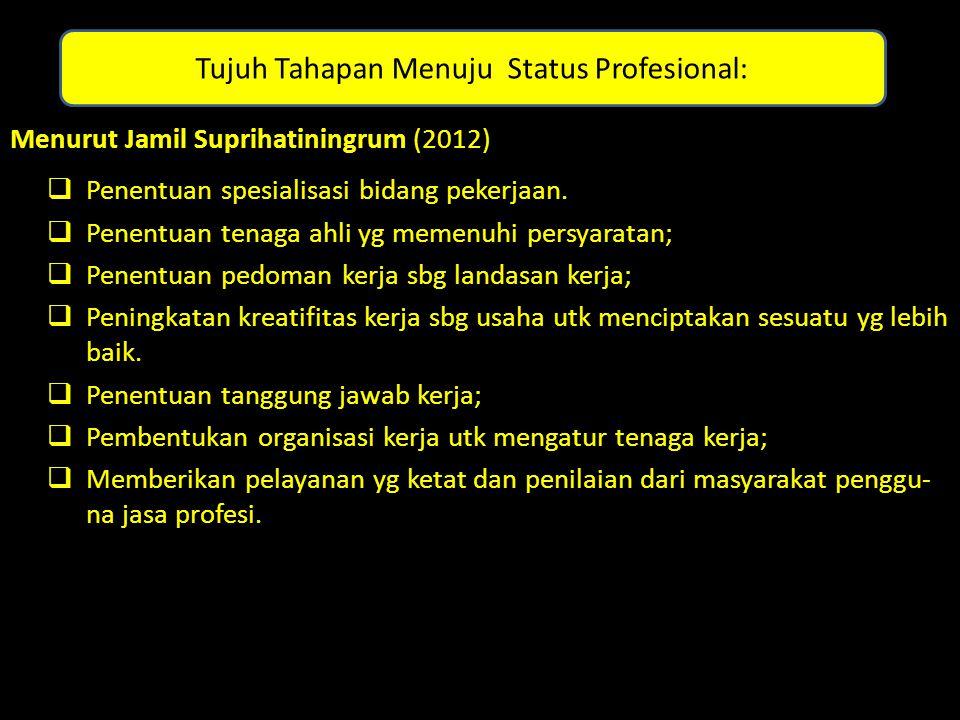 Tujuh Tahapan Menuju Status Profesional: