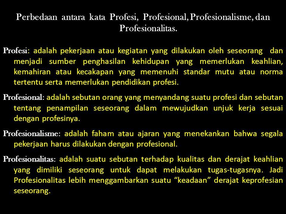 Perbedaan antara kata Profesi, Profesional, Profesionalisme, dan Profesionalitas.