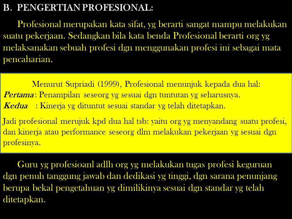 Menurut Supriadi (1999), Profesional menunjuk kepada dua hal: