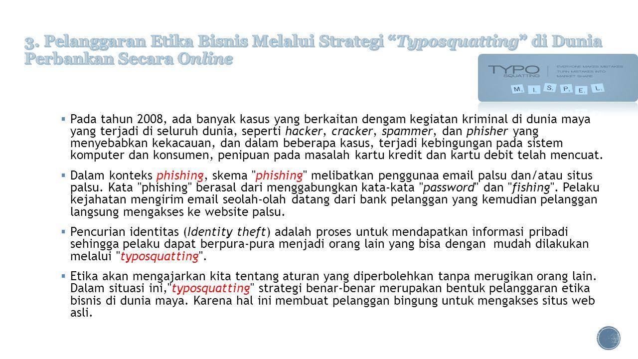 3. Pelanggaran Etika Bisnis Melalui Strategi Typosquatting di Dunia Perbankan Secara Online