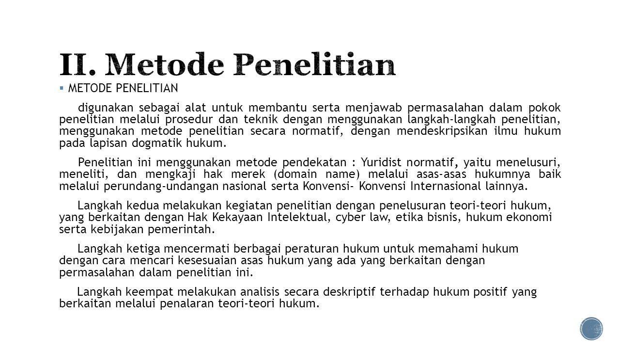 II. Metode Penelitian METODE PENELITIAN