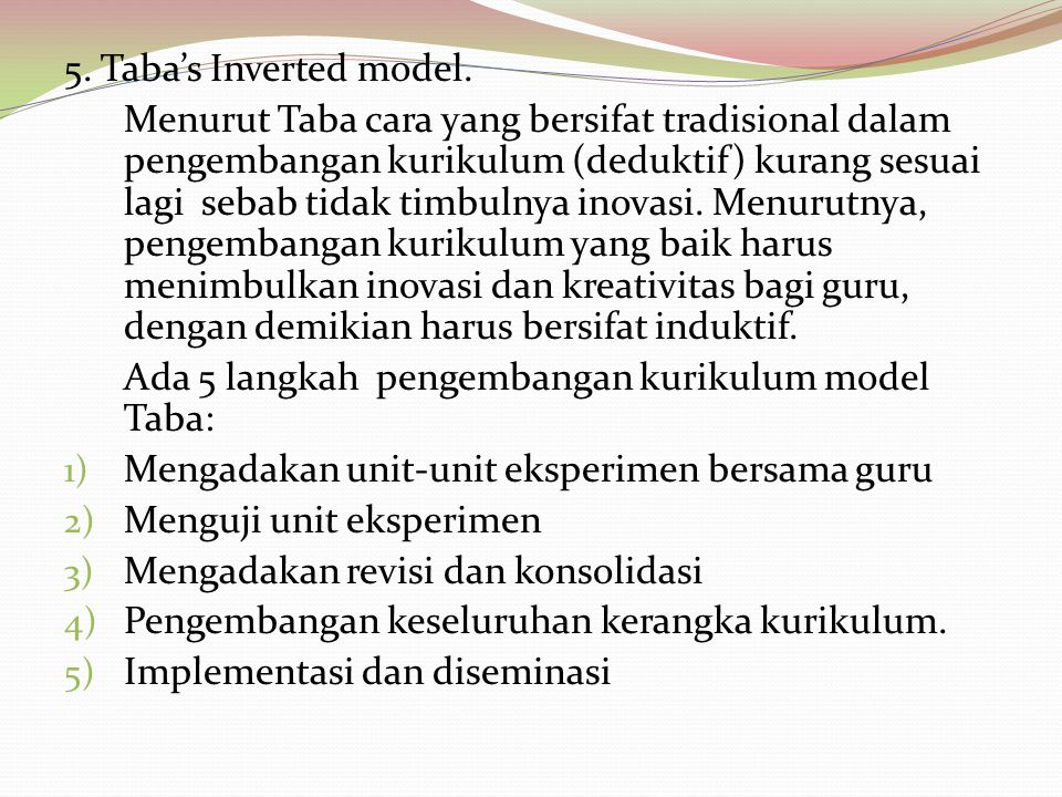 5. Taba's Inverted model.
