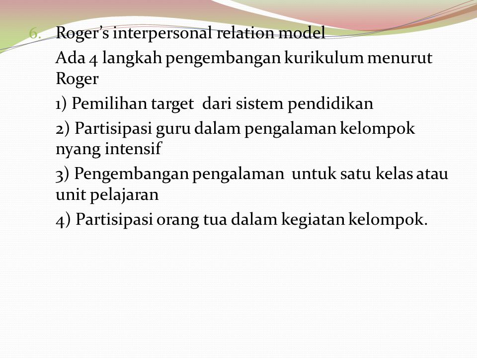Roger's interpersonal relation model