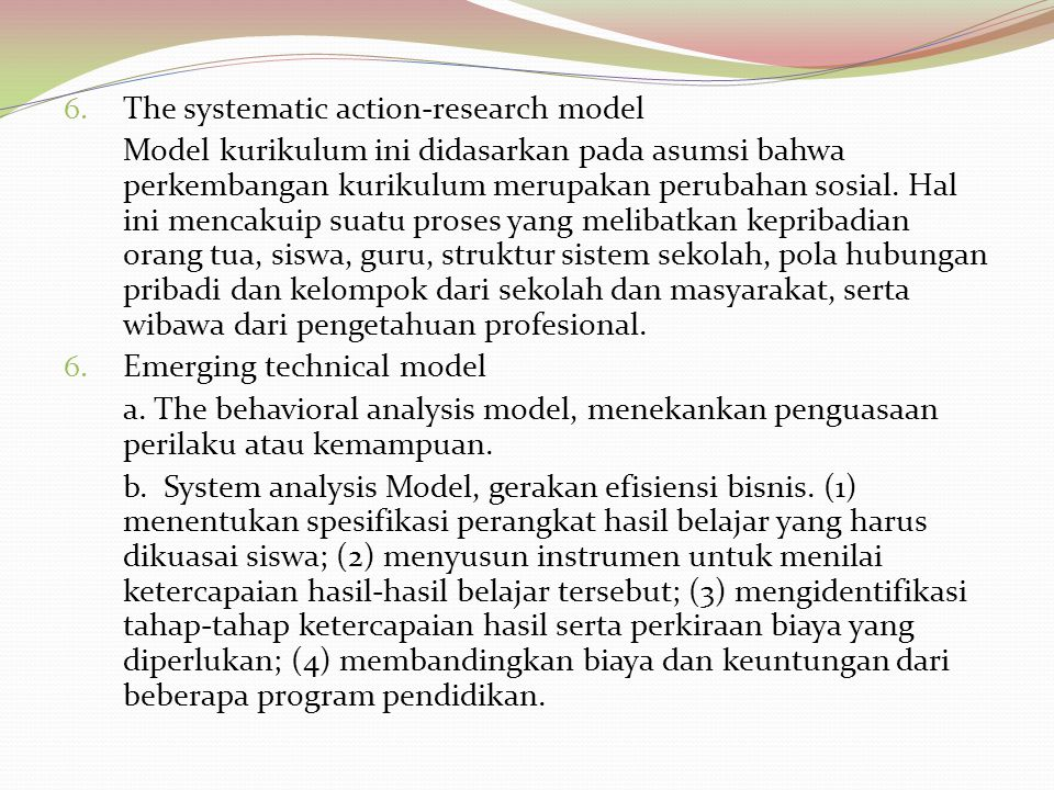 The systematic action-research model