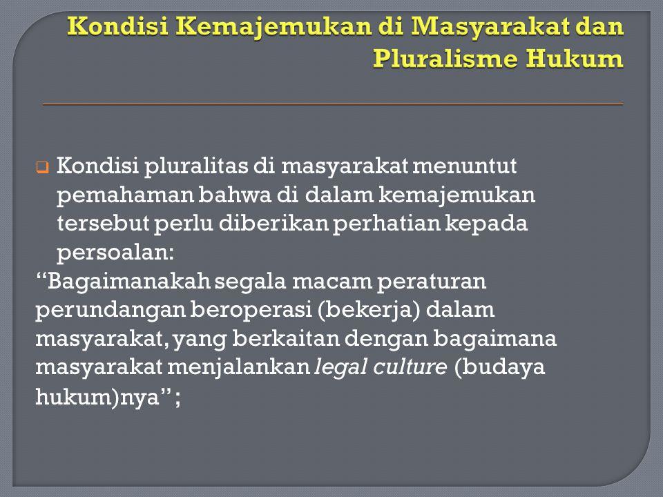 Kondisi Kemajemukan di Masyarakat dan Pluralisme Hukum